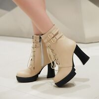 Womens Punk Ankle Boots Buckle Strap Block Heel Platform Zipped Lace Up Shoes