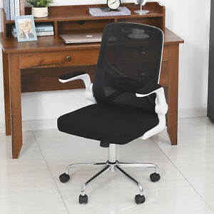 Mesh Swivel Office Task Desk Chair with Flip-Up Arm, Lumbar Support, Black