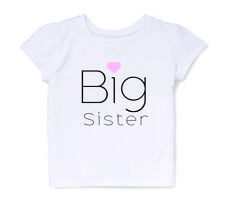 Big Sister T-Shirt for Toddler Girls Pregnancy Announcement T Shirt in White