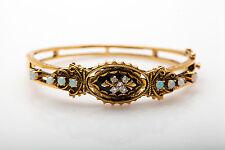 Sonia Bitton 5ct Onyx Opal Diamond 14k Yellow Gold Etruscan Bangle Bracelet 21g