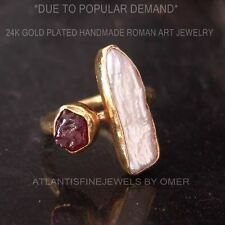 Free Sizing* 925k Silver Handmade Ruby & Pearl Ring 24k Gold Plated By Omer