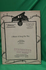 I wrote a Song For You - Dolph Singer, William Dunham, Sam Morrison -Sheet Music