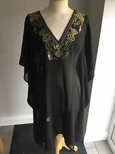 Biba Ladies Black Embellished Bib Sheer Top / Tunic Size S. BNWT RRP £55.