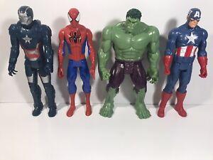 Marvel action figures lot, Incredible Hulk, Spider-Man, Iron Patriot, C America