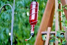 Red Glass Wine Bottle Hummingbird Feeder, Bird Feeder, Gift for Women