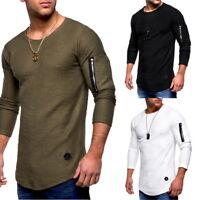 Mens Casual Long Sleeve Crew Neck T Shirts Zipper Patchwork Sportwear Tops Tee