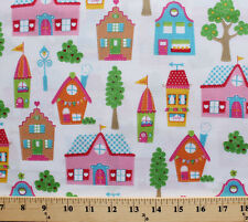 Houses Homes Buildings Neighborhood Town White Cotton Fabric Print BTY D782.35