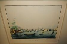"GARNERAY ""VIEW OF BOSTON"" HAND COLORED REPRODUCTION ENGRAVING"