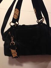 Juicy Couture Shoulder And Hand Bag Cowhide Leather Black With Zipper For Women