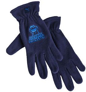 Puma Sesame Street Cookie Monster Navy Blue Gloves Unisex Kids 041271 01