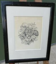 Antique Framed Pencil Drawing Picture of Flowers Botanical