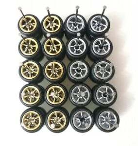 1/64 Rubber Wheels Real Riders 10mm 10 sets Chrome Gold Hot Wheels JDM Axle