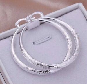 Ohrringe Creolen rund 925 Silber Geschenk Ohrstecker Paar mit Schmuckbeutel