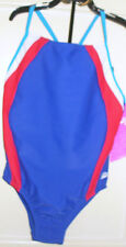Girls SPEEDO Keyhole Splice Swimsuit Size 7 Blue Red White NWT Bathing Suit