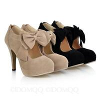 high heel Pumps Evening Suede Bow Ribbon Office Shoes Size 3 4 5 6 7 8 9 10 11