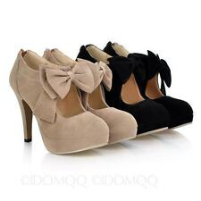 Suede Bow Shoes high heel Pumps Evening Ribbon Office Size 3 4 5 6 7 8 9 10 11