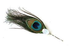 Opal Peacock Feather Hair Clip Fascinator Headpiece Silver Blue Green 1920s 1226