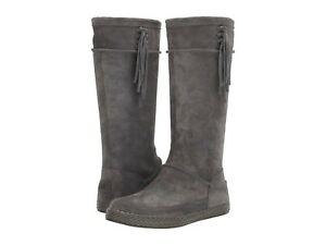 Women's Shoes UGG EMERIE Tall Suede Fringe Boho Boots 1106754 CHARCOAL
