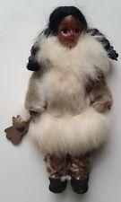 "Eskimo Inuit Native Doll 7 1/2"" Real Fur Parka Rawhide Souvenir Mittens Braids"