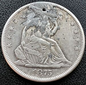 1875 S Seated Liberty Half Dollar 50c San Francisco High Grade AU Details #16199