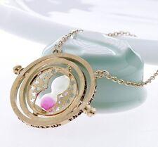 collier pendentif Harry Potter sablier retourneur de temps Hemione sable rose