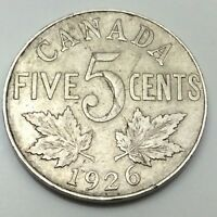 1926 Near Six Canada Large 5 Five Cents Nickel Circulated Canadian Coin D436