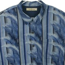 Tommy Bahama Mens Silk Hawaiian Camp Shirt XL Short Sleeve Palm Blue White