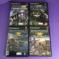 PS2 4 Game Lot - SOCOM 1 2 3  & Combined Assault Sony Playstation 2 Video Games