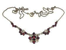 Jugendstil Gold Doublé echte Böhmische Granat Halskette Collier