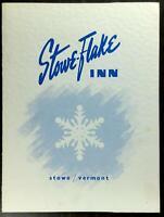 1970's Original Vintage Menu STOWE-FLAKE INN Restaurant Stowe Vermont