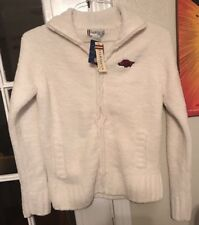 White  Soft Full Zip Sweater Oarsman for Her Size S Small RAZORBACKS NWT