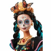 Dia De Muertos Painted Face Barbie Doll With Embroidered Dress & Flower Crown