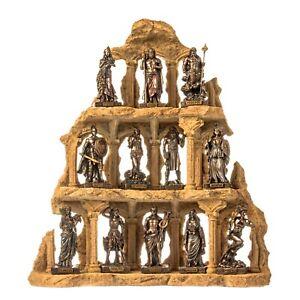 Miniature Set 12 Olympian Gods of Mount Olympus Pantheon Cold Cast Bronze Statue