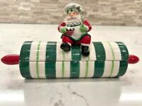 Vintage Fitz and Floyd Santa's Kitchen Lidded Dish Rolling Pin  2005