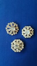 Vintage Decorative Rhinestone and Silver Tone Metal Buttons Set of 3