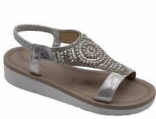 Ladies SILVER Diamante, Pearl Embellished Comfort Sandals. Boxed. Sizes 3-8 x