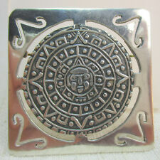 Sterling Silver 925 Necklace - Signed Taxco Mexico Vintage Estate Aztec Calendar