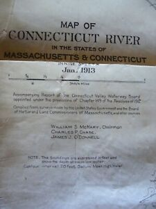 Nine 1913 Maps Of Conn River, On One Linen Sheet  Conn. & Mass.Depts of River