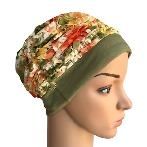 HEADWEAR FOR HAIR LOSS, STYLISH LINED FLORAL LACE HAT, CHEMO, CANCER, CHEMO