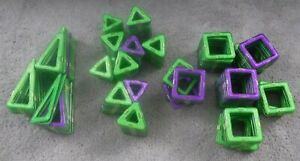 HUGE LOT Magna-Tiles Set, 216 Pieces, Green Purple Triangles Squares EUC