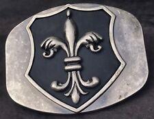 Fleur De Lis Iron Cross Belt Buckle Brushed Distress Metal Leather  Accessories