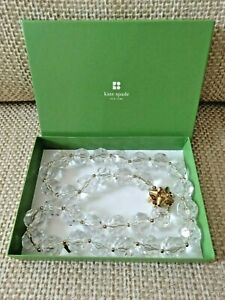 """KATE SPADE NEW YORK FACETED CLEAR GLASS ICE CUBE 32"""" NECKLACE  NEW IN BOX"""