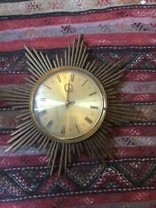 Junghans 1950s / 1960s Midcentury Sunburst Starburst Brass Wall Clock Ato-Mat