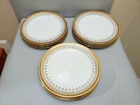 12 Antique ROYAL CAULDON England Gold Band Greek Key Dinner Plate 10 3/8'' W