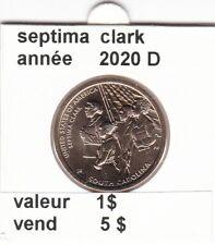 pièces de 1 $ septima clark 2020 D