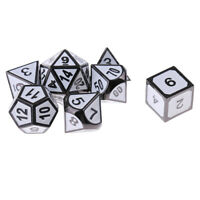 7x White Polyhedral Dice D4-D20 Die Table Game Toys for Dungeons and Dragons