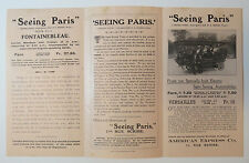 Paris France Electric Sightseeing Automobile Tours Brochure Versailles 1908