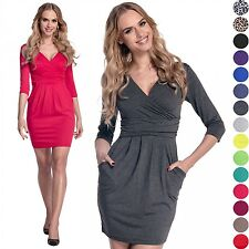 Glamour Empire. Women's Wrap V-Neck Jersey Pencil Dress with Pockets S-4XL. 236