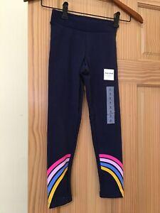 NWT Old Navy Cozy Leggings Girl Navy Blue Rainbow Stripe XS,S,M,L
