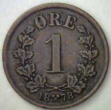 1878 Bronze 1 Ore Norway Coin KM #352 #R